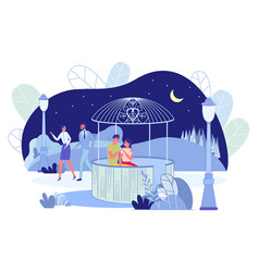 City night park landscape with loving couples vector