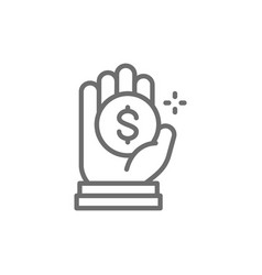 Coin in hand money donation charity vector