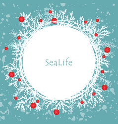 Coral pine leaf and christmas ball decoration vector