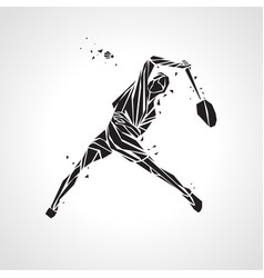 creative silhouette of professional badminton vector image