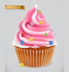 Cupcake fairy cake 3d realistic icon vector
