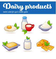 Dairy products game mobile asset in cartoon style vector
