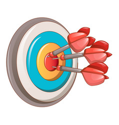 Darts target icon cartoon style vector