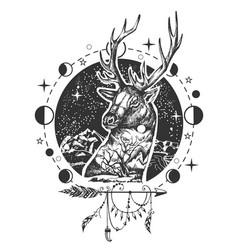 deer head tattoo or t-shirt print design vector image