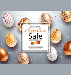 easter sale banner design with square frame gold vector image