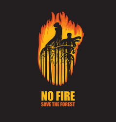 Eco poster on theme wildfires save vector