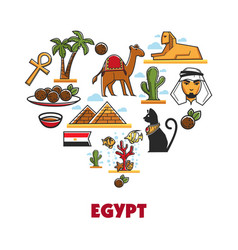 Egypt travel tourism landmarks symbols vector