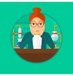 Female student working at laboratory class vector image
