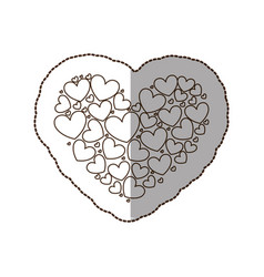 figure heart with little hearts inside vector image
