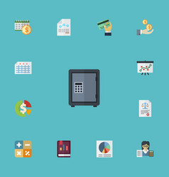 Flat icons safe paper bookkeeper and other vector