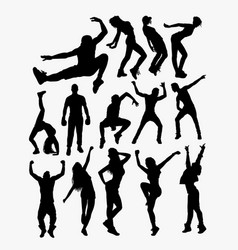 free style people action silhouette vector image