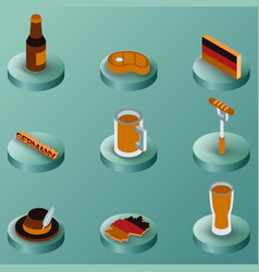 germany color isometric icons vector image