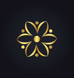 Gold abstract flower eco logo vector