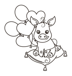 greeting card with cute cartoon pig vector image