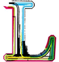 Grunge colorful font Letter L vector
