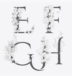 hand drawn floral monograms and logos vector image