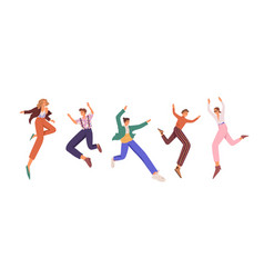 Happy young people jumping up for fun and joy set vector