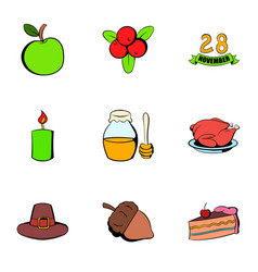 harvesting day icons set cartoon style vector image