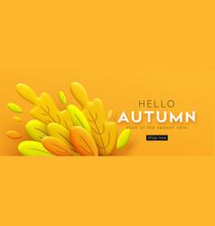 hello autumn 3d minimal background with autumn vector image