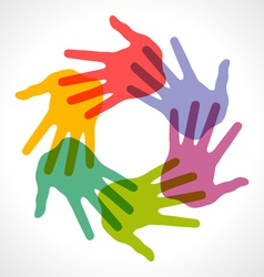 Icon colorful hand prints vector
