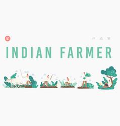 Indian farmer landing page template rural men in vector