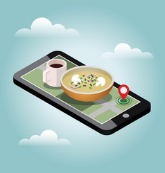 Isometric food delivering searching of dinner vector