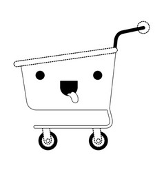 kawaii shopping cart in black dotted silhouette vector image