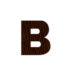 logo letter b wood texture vector image