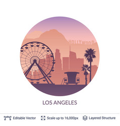 Los angeles famous city scape vector