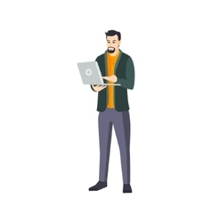 Man With Goatee Beard And Lap Top In Green vector