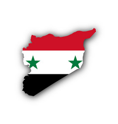 map and flag of syria vector image