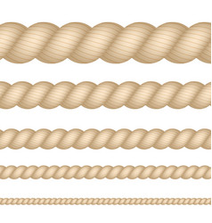 Nautical marine naval twine thickness rope set vector