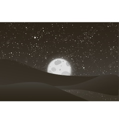Night moon shining stars on black and vector image