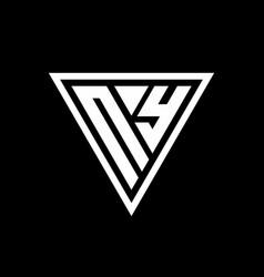 Ny logo monogram with triangle shape designs vector