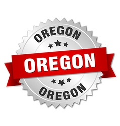 Oregon round silver badge with red ribbon vector