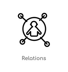 outline relations icon isolated black simple line vector image