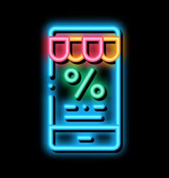 Phone percent message neon glow icon vector