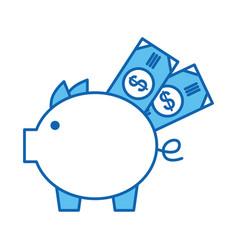 Piggy savings with bills vector