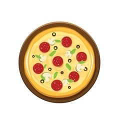 Pizza and wooden plate vector image