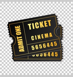 realistic two black cinema tickets isolated object vector image