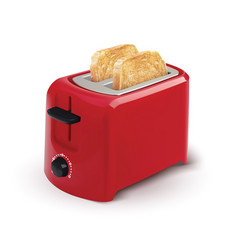 Red toaster with toasted bread for breakfast vector