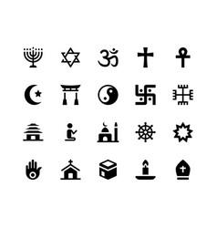 Religion glyph icons vector