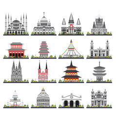 Religious buildings set isolated on white vector