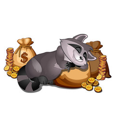 Rich raccoon sleeping on a sack of gold coins vector
