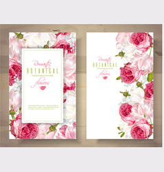Romantic flowers vertical banners vector