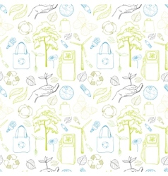 Seamless ecology and environment pattern vector image
