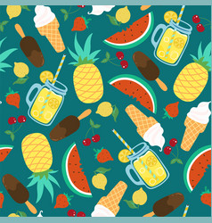 seamless pattern with summer food and drinks vector image