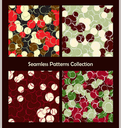 Seamless patterns collection red green colorful vector