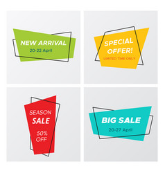 set of 4 modern sale tags with promo offers vector image