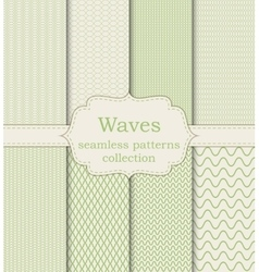 set of seamless patterns waves vector image